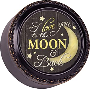 Cottage Garden Love You to The Moon and Back Black Rope Trim Petite Round Jewelry and Keepsake Box