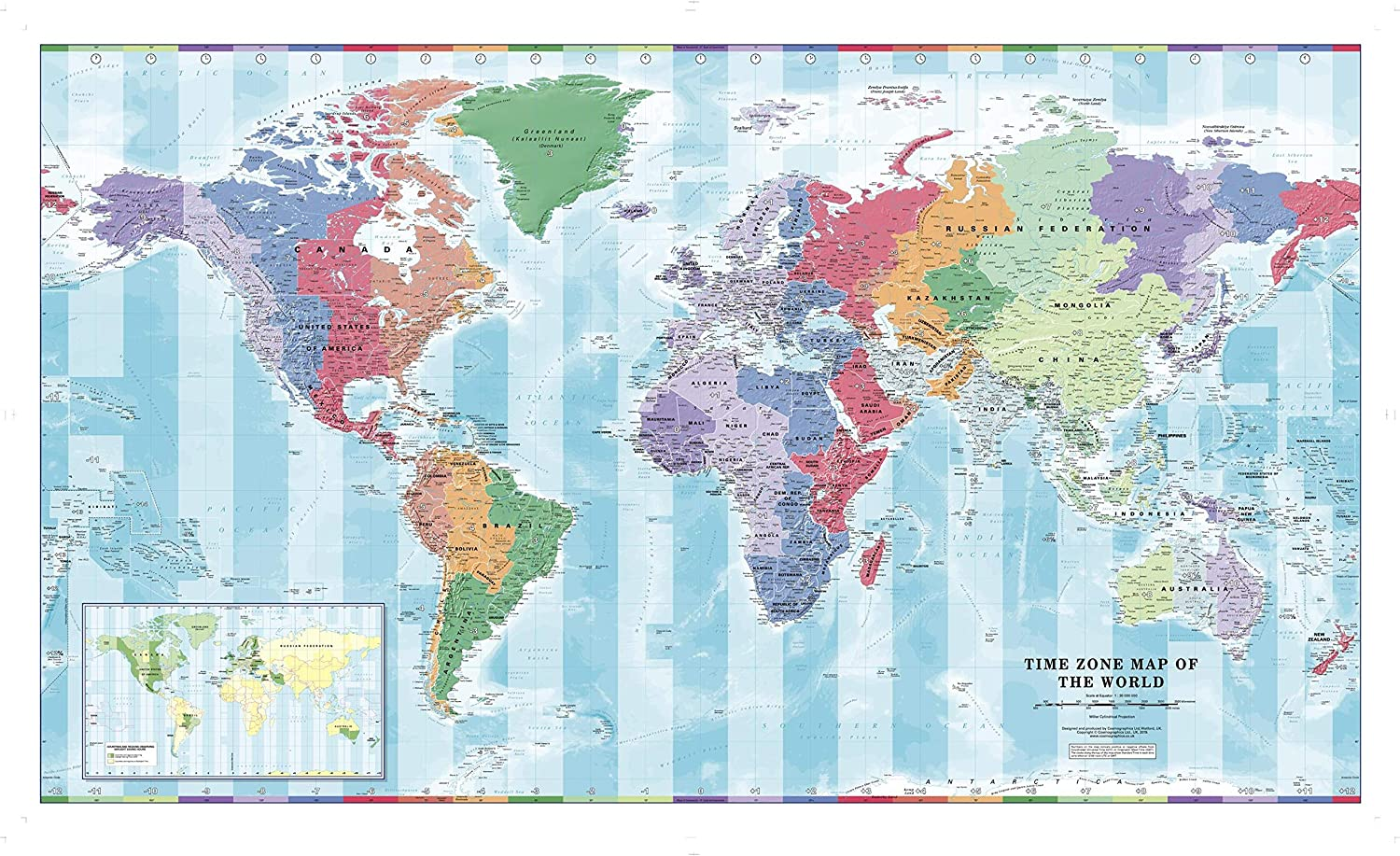 Time Zone Wall Map of The World 56.25