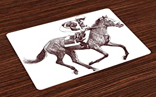 Lunarable Horse Place Mats Set of 4, Sketchy Illustration of Racing Horse and Jockey Equestrian Sports Theme Art, Washable Fabric Placemats for Dining Room Kitchen Table Decor, White Brown