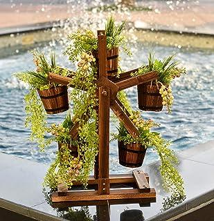 YATAI Wooden Pots 5 Flower Buckets Wheel, Planter, Patio, Garden Décor, Homer Décor – Flowers Vase – Plants Pot – Wooden P...