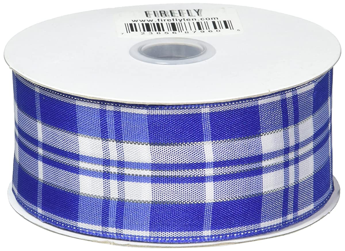 Homeford Firefly Imports Plaid Checkered Wired Christmas Ribbon, 1-1/2-Inch, 10 Yards, Royal Blue, 1.5