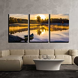wall26 - 3 Piece Canvas Wall Art - Sunrise Over The Lake with a Boat - Modern Home Decor Stretched and Framed Ready to Hang - 24