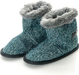 Womens Virgin Wool Herringbone Faux Mink Fur Home Bootie Slippers