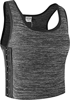 XUJI Women Tomboy Lesbian Breathable Cotton Elastic Band Colors Chest Binder Tank Top (M-6XL)