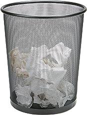 Mind Reader 1CIRGA-BLK Garbage Waste Basket Recycling Bin Set, Round Metal Mesh, Black