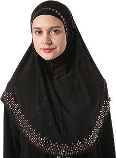 Women's Modest Muslim Rhinestones Instant Hijab Jersey Headscarf Ready to Wear Hijab