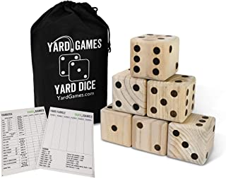 Giant Wooden Yard Dice with Laminated Yardzee and Farkle Scoresheets