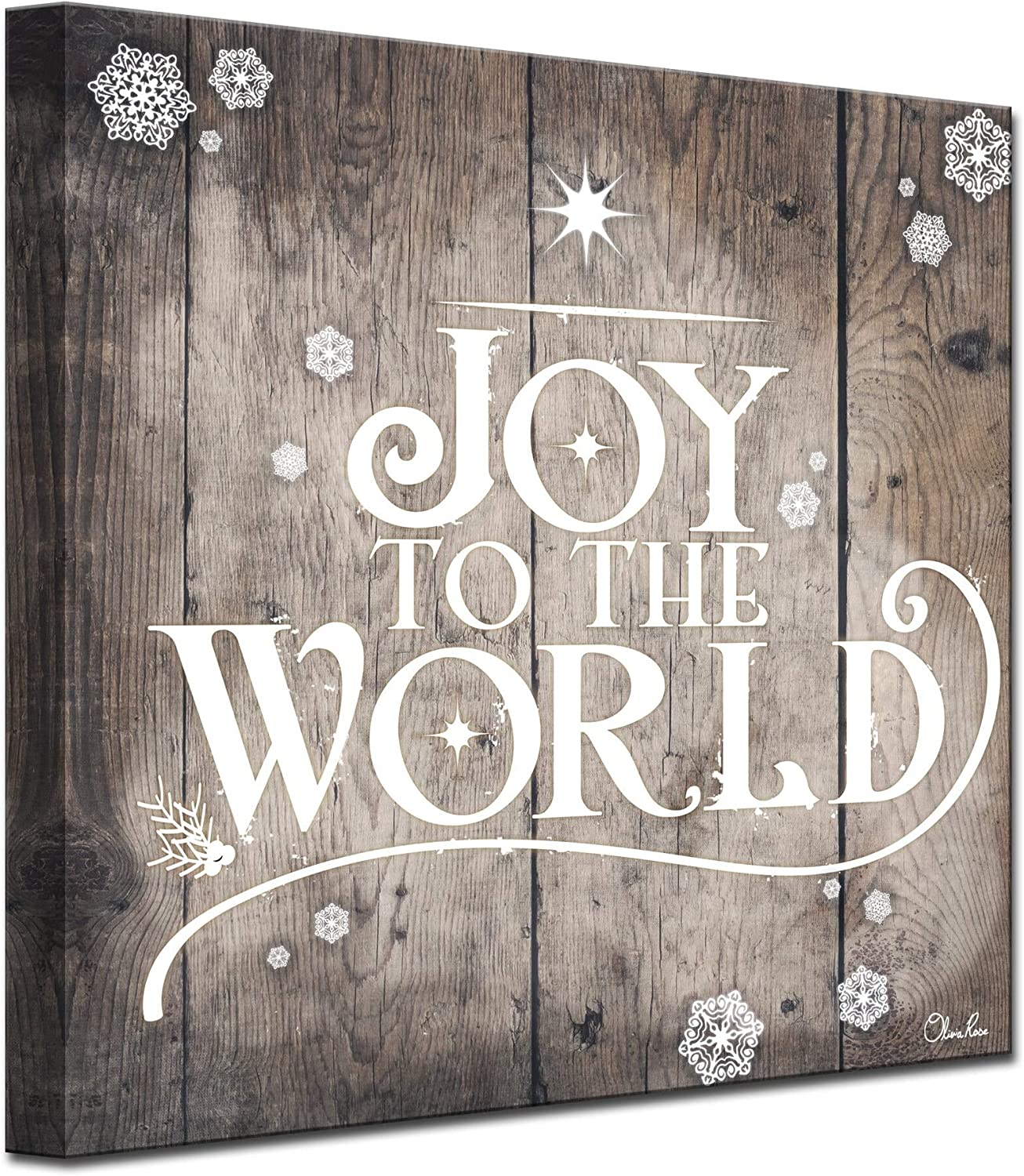 Amazon Com Ready2hangart Olivia Rose Christmas Joy To World Wrapped Canvas Textual Wall Art 30 In H X 30 In W Furniture Decor