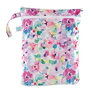 Bumkins Waterproof Wet Bag/Dry Bag, Washable, Reusable for Travel, Beach, Pool, Stroller, Diapers, Dirty Gym Clothes, Wet Swimsuits, Toiletries, 12.5 x 14 – Watercolor
