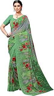 Vaamsi Women's Poly Georgette Saree (PC1124_Green )