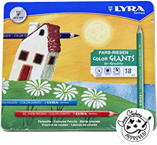 LYRA Color-Giants Colored Pencils, Lacquered, 6.25 Millimeter Cores, Set of 18 Pencils, Assorted Colors (3941181)