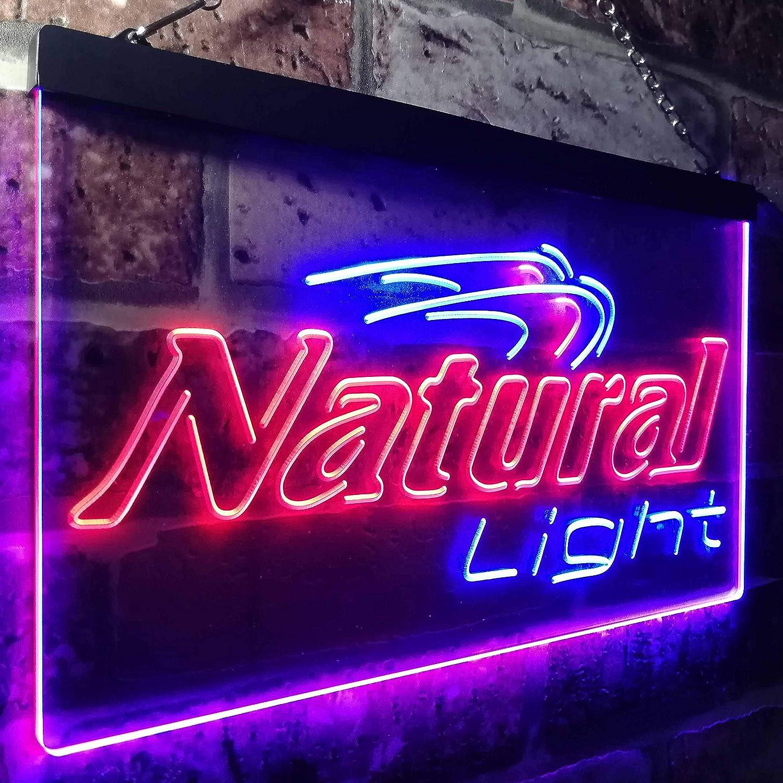 Zusme Natural Light Beer Bar Gift Novelty LED Neon Sign Blau + rot W40cm x H30cm