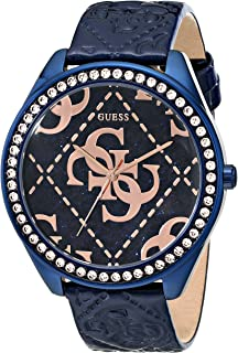 GUESS Women's U0473L1 Iconic Blue & Rose Gold-Tone Watch with Blue Logo Embossed Genuine Patent Leather Strap