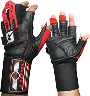 skott Talon Elite Weight Lifting Gloves - Wide Wrist Wrap Support - Genuine Leather Extra Durability - Get Ripped The Best Body Building Fitness Gym Exercise Accessories