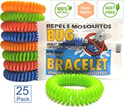 Bundaloo Mosquito Repellent Bracelet 25 Pack - Insect and Mosquito Protection for Camping, Fishing, Hunting, Picnic, BBQ, Sports - Natural, Deet-Free and Non-Toxic Bug Repellent for Adults and Kids