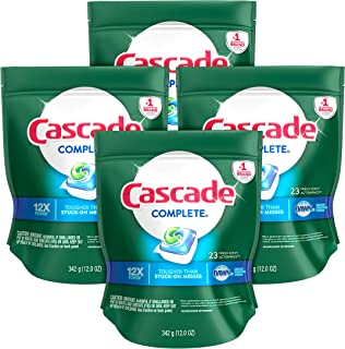 Cascade Complete ActionPacs Dishwasher Detergent, Fresh Scent, 92ct, Tub Refill Bags