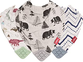 Nuby Reversible 100% Natural Cotton Muslin 3 Piece Teething Bib, Green/Grey/Blue, Dinosaur/Bear/Stripes