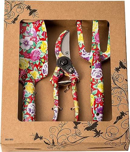 FLORA GUARD Outils de Jardinage en Aluminium de 3 pièces avec imprimé Rouge - truelle, Transplanter, sécateur, Ensemb...