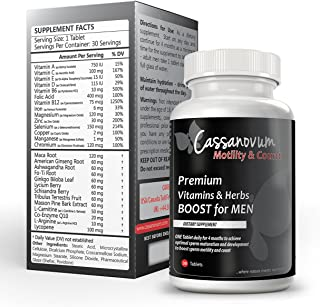 Cassanovum – High Strength Advanced Male Fertility Supplement – 30 Vegetarian Vitamins for Conception Preparation – Boost Motility and Improve Count – with Maca Root, Ginseng, Ashwagandha, l carnitine