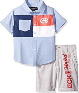 Marc Ecko Boys Short Sleeve Plaid Woven Shirt and Plaid Short Set Shorts Set