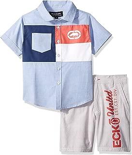 Marc Ecko Boys Short Sleeve Plaid Woven Shirt and Plaid Short Set Shorts Set