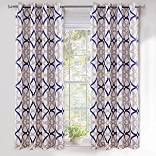 DriftAway Alexander Thermal Blackout Grommet Unlined Window Curtains Spiral Geo Trellis Pattern Set of 2 Panels Each Size 52 Inch by 63 Inch Navy and Gray