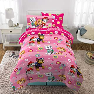 Franco Kids Bedding Super Soft Comforter and Sheet Set with Bonus Sham, 5 Piece Twin Size, Paw Patrol Pink