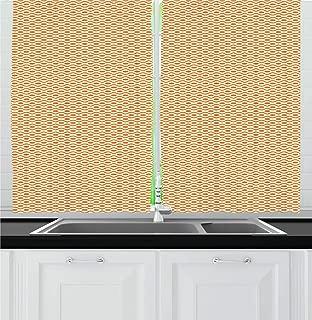 Ambesonne Retro Kitchen Curtains, Continuous Orange Wavy Pattern with Elliptic Dots Curvy Symmetric Vintage Design, Window Drapes 2 Panel Set for Kitchen Cafe Decor, 55