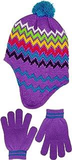 Polar Wear Girls Micro-Fleece Lined Knit Hat with Ear Flaps & Gloves in 3 Colors (Purple)
