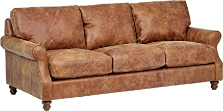 Stone & Beam Charles Classic Oversized Leather Sectional Sofa Couch, 92