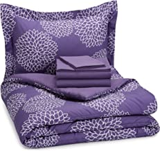 AmazonBasics 5-Piece Bedsheet Set - Twin/Twin Extra Long, Purple Floral (Includes 1 bedsheet, 1 comforter, 2 pillowcases, 1 fitted sheet)