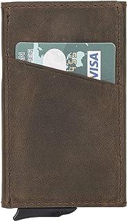 محفظة RFID Blocking الحد الأدنى حقيقية من الجلد المنبثق محفظة الميكانيكية حامل البطاقة للرجال, , انتيك دارك براون - Torres...