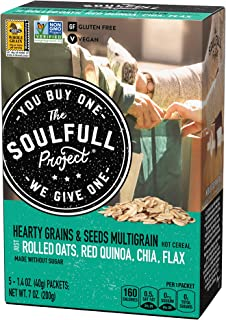 The Soulfull Project Instant Oatmeal Packets, Hearty Grains & Seeds, 5 Individual Servings (Pack of 6), Non GMO, Gluten Free, Vegan