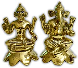 VRINDAVANBAZAAR.COM Goddess Lakshmi/Laxmi & Lord Ganesha Idol on Lotus Flower | God Statue Gift Item