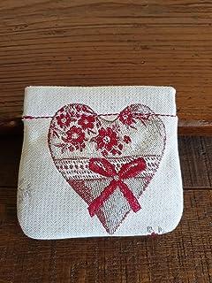 Portamonete con cuore fatto a mano, BEIGE - rosso, idea regalo, San Valentino, Anniversario, Matrimonio, Bomboniere, Festa...
