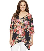 Nally & Millie - Plus Size Floral V-Neck Oversized Top