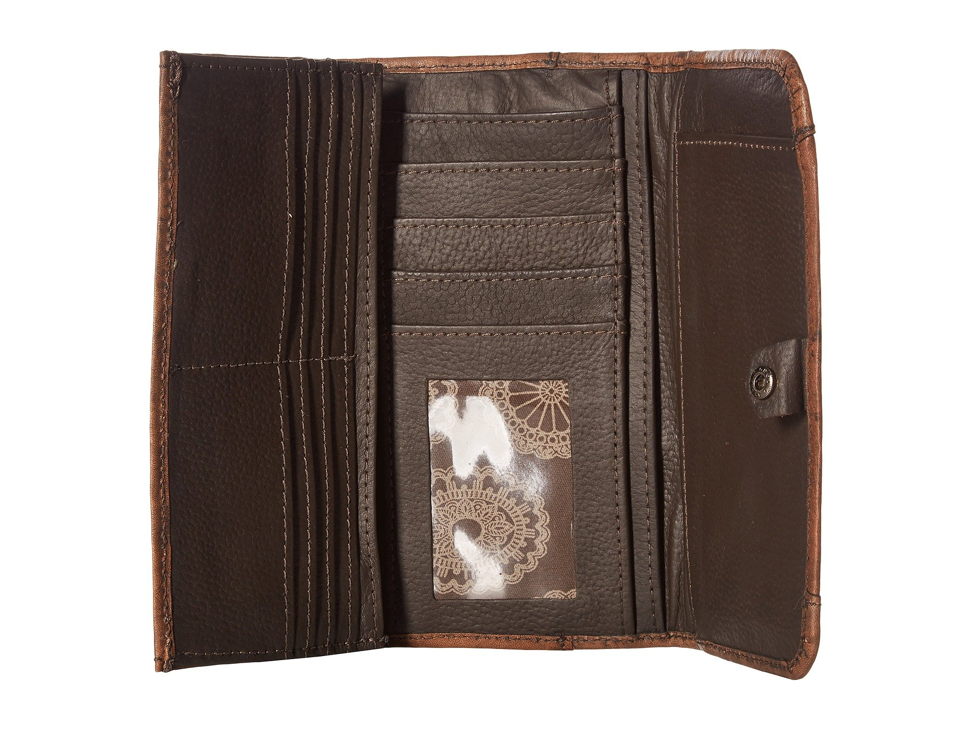 Brown Charcoal Trifold Crossed Wallet American Distressed West Arrows Ax1qF8MwRB
