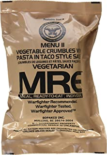 Ultimate 2018 US Military MRE Complete Meal Inspection Date January 2018 or Newer (Vege Crumble in Taco Sauce)