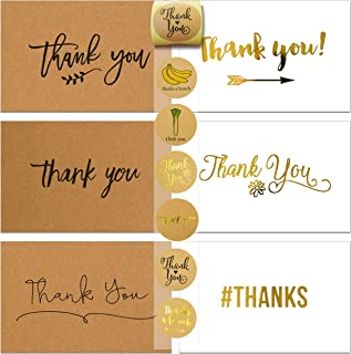 72 Thank You Card and Envelope Sets with 84 Envelope Sealer Stickers Assortment, Flat Notes Greeting Cards, Blank Card, 12 Designs, 4 x 6 Inches (36 Kraft and 36 White)