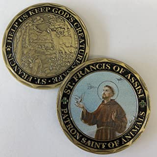 ST. FRANCIS OF ASSISI - Patron Saint of Animals -Commemorative Coin - Cast and Colorized with Beautiful Iron Plating & Ancient Bronze. Stunning Original one-of-a-Kind Catholic Church Patron Saint of A