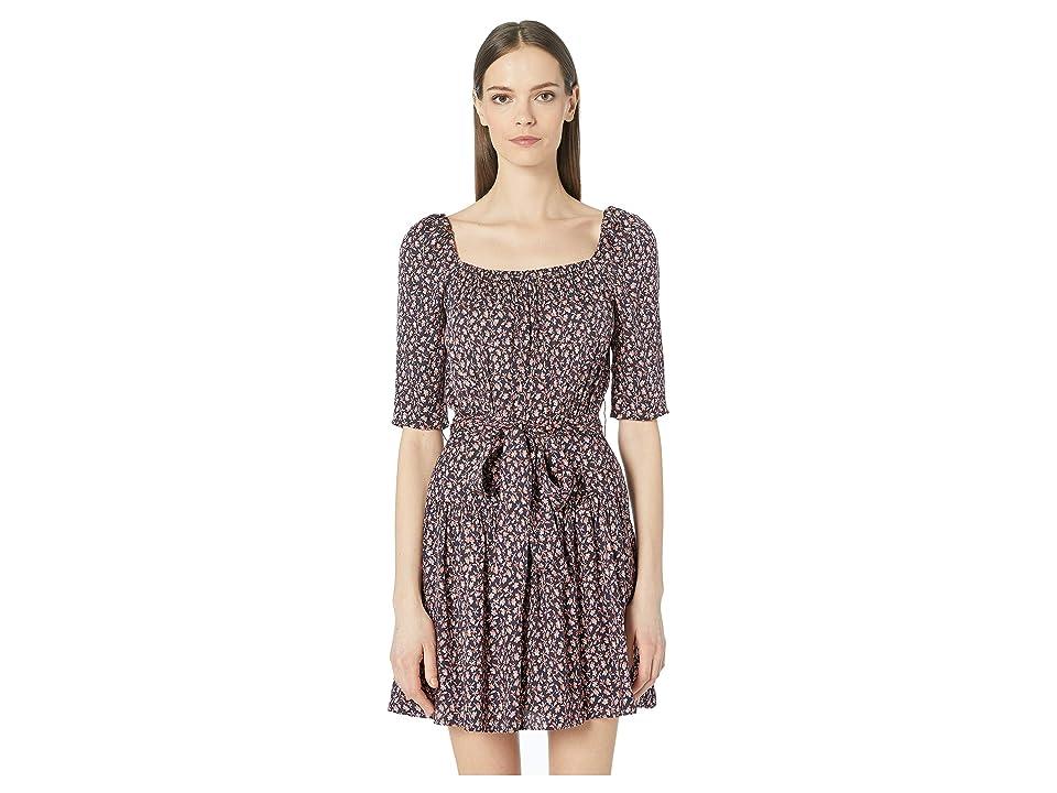 Rebecca Taylor Francesca Square Neck Dress (Navy Combo) Women