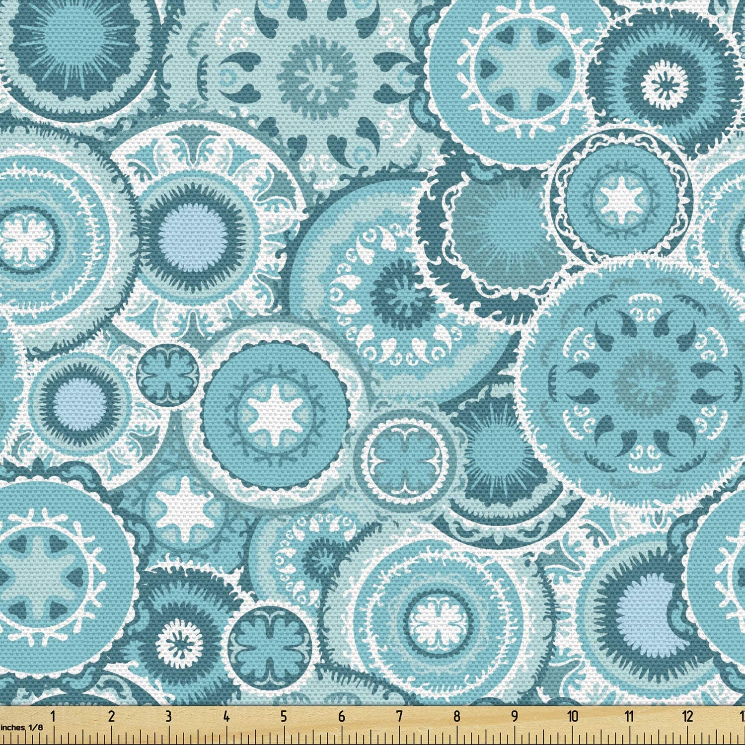 Ambesonne Aqua Fabric by The Yard, Hippie Floral Leaves Mandala Rounds Traditional Elements Print, Decorative Fabric for Upholstery and Home Accents, 1 Yard, Turquoise White
