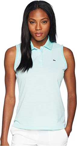 Sleeveless Stripe Pique Sport Polo