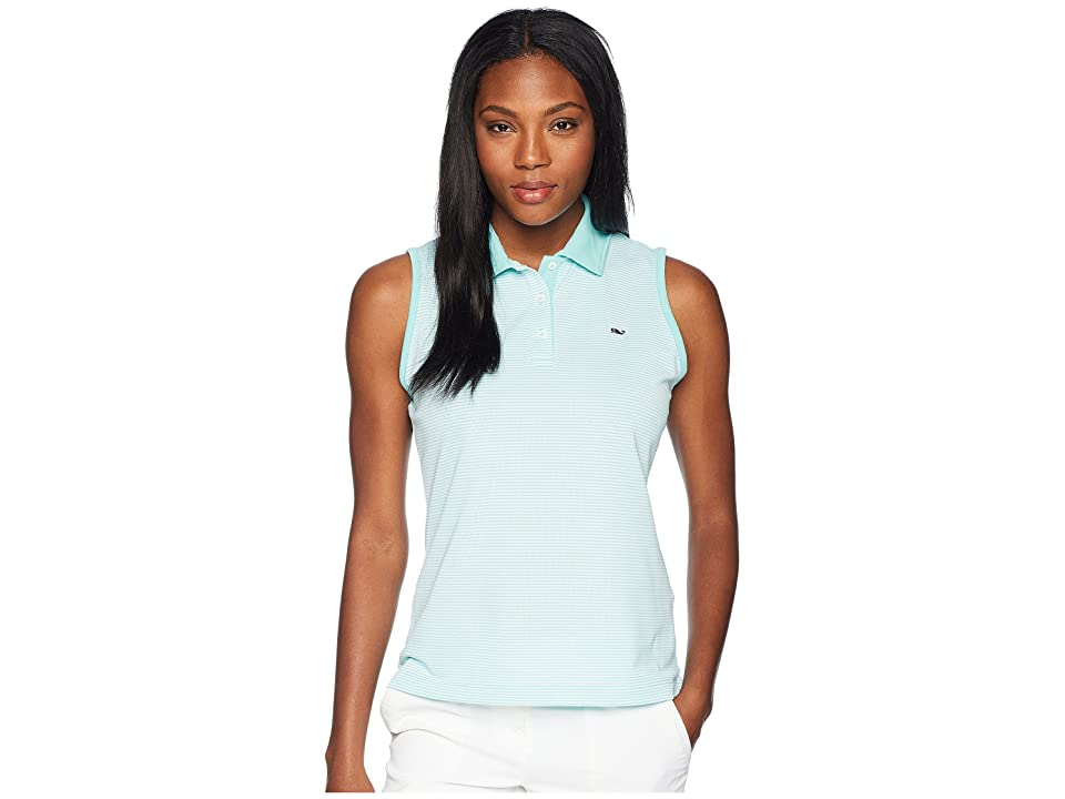 Vineyard Vines Golf Sleeveless Stripe Pique Sport Polo (Crystal Blue) Women