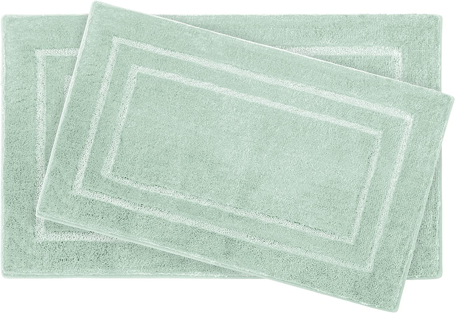 Laura Ashley Pearl Double Border 20 x 32  2 Piece Bath Mat Set, Sea Foam