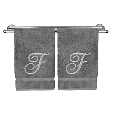 Monogrammed Hand Towel, Personalized Gift, 16 x 30 Inches - Set of 2 - Silver Embroidered Towel - Extra Absorbent 100% Turkish Cotton- Soft Terry Finish - for Bathroom, Kitchen and Spa- Script F Gray