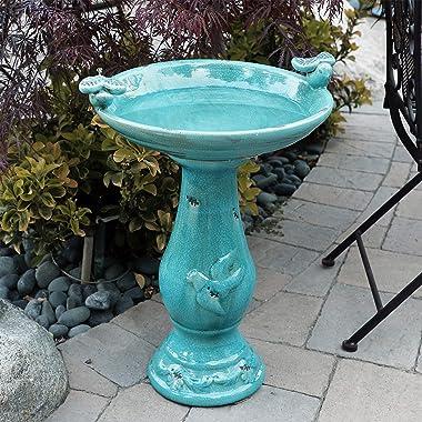 Alpine Corporation TLR102TUR Alpine Pedestal Bath with 2 Figurines-Turquoise Antique Ceramic Birdbath with Birds, 24 Inch Tal