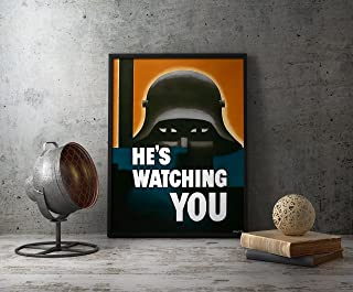 UpCrafts Studio Design WW1 anti German Propaganda Poster 8.3 x 11.7 - HE'S WATCHING YOU - WWI Military Decorations for Bedrooms, Wall Art for Living Room