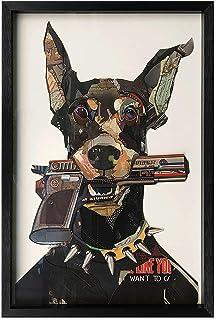 ADM - Doberman con pistola en la boca - Cuadro con efecto 3D realizado con técnica de collage, enmarcado y protegido por u...