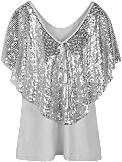 9f6754b70fbc5d PrettyGuide Women's Tunic Tops Sequin Overlay Cold Shoulder Glitter  Cocktail Party Blouse Top